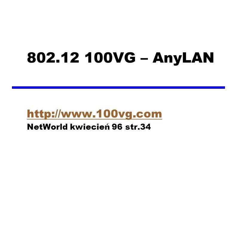 802.12 100VG – AnyLAN http://www.100vg.com NetWorld kwiecień 96 str.34