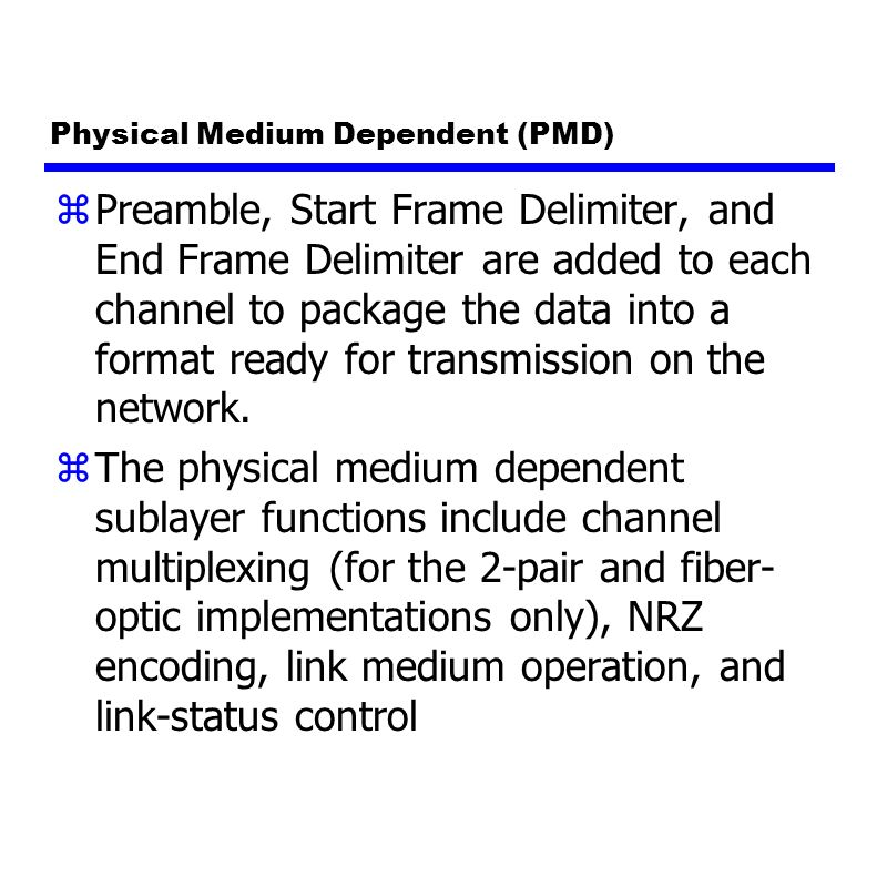 Physical Medium Dependent (PMD) zPreamble, Start Frame Delimiter, and End Frame Delimiter are added to each channel to package the data into a format ready for transmission on the network.