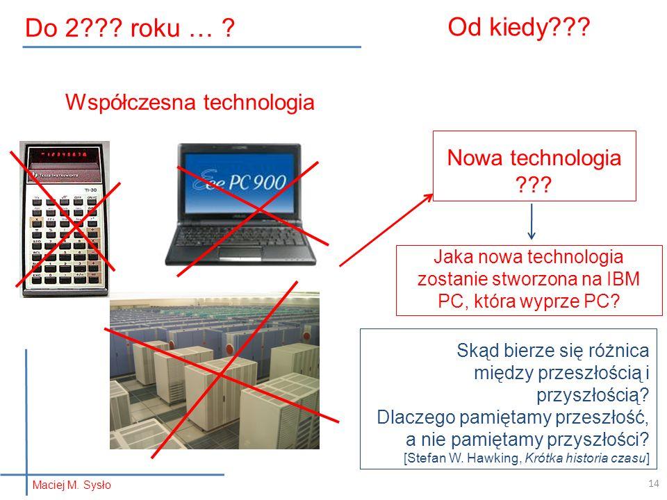 Od kiedy??? Nowa technologia ??? Jaka nowa technologia zostanie stworzona na IBM PC, która wyprze PC? Współczesna technologia 14 Skąd bierze się różni