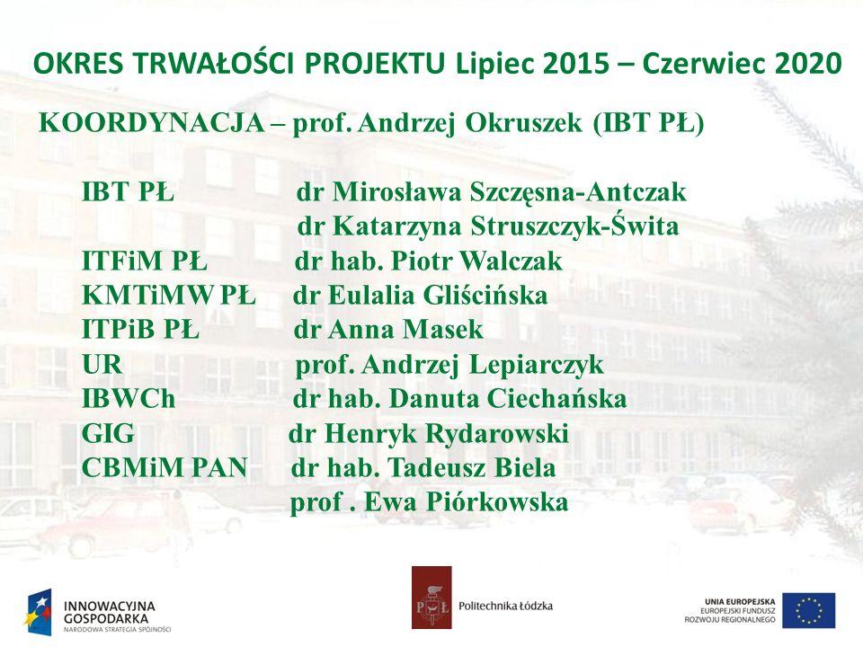 OKRES TRWAŁOŚCI PROJEKTU Lipiec 2015 – Czerwiec 2020 KOORDYNACJA – prof.