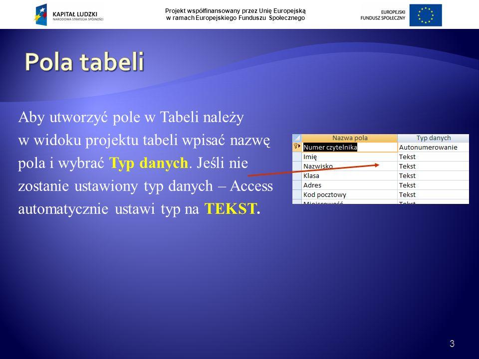 Projekt współfinansowany przez Unię Europejską w ramach Europejskiego Funduszu Społecznego 3 Aby utworzyć pole w Tabeli należy w widoku projektu tabeli wpisać nazwę pola i wybrać Typ danych.