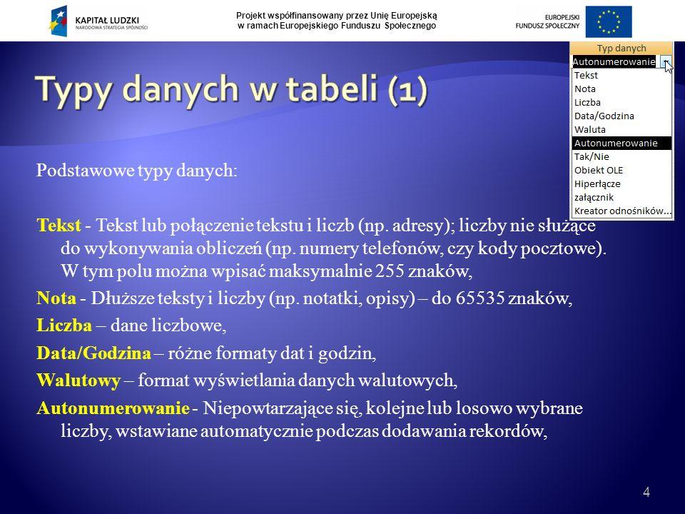 Projekt współfinansowany przez Unię Europejską w ramach Europejskiego Funduszu Społecznego 4 Podstawowe typy danych: Tekst - Tekst lub połączenie tekstu i liczb (np.