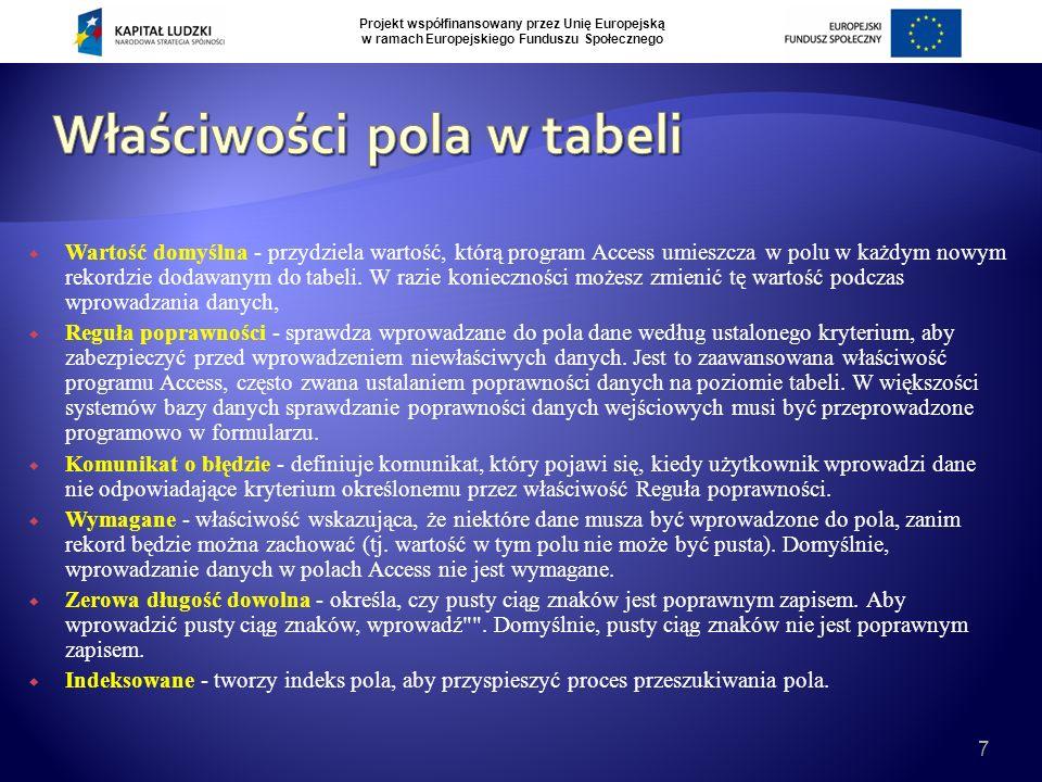 Projekt współfinansowany przez Unię Europejską w ramach Europejskiego Funduszu Społecznego 7  Wartość domyślna - przydziela wartość, którą program Access umieszcza w polu w każdym nowym rekordzie dodawanym do tabeli.