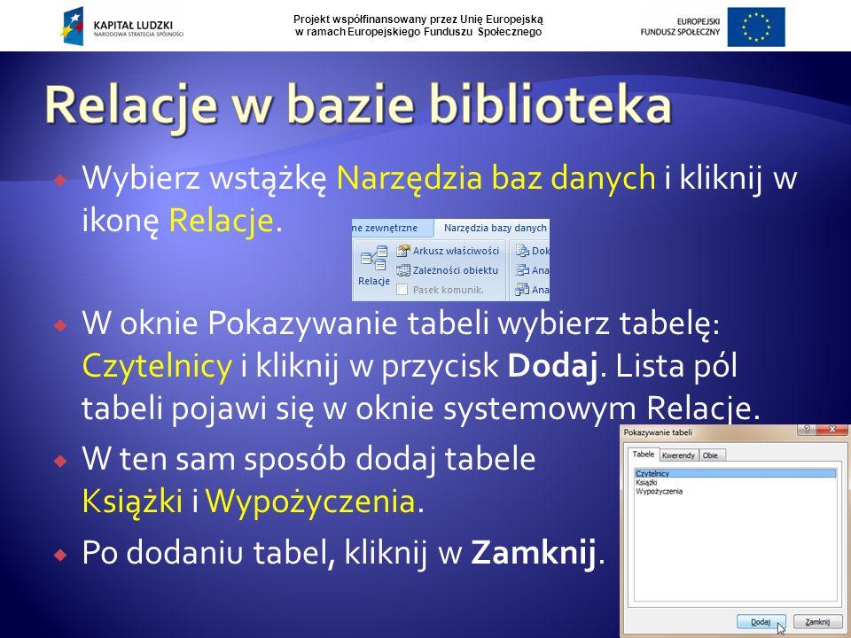 Projekt współfinansowany przez Unię Europejską w ramach Europejskiego Funduszu Społecznego  Kliknij lewym przyciskiem myszy na polu Nr czytelnika w tabeli Czytelnicy.