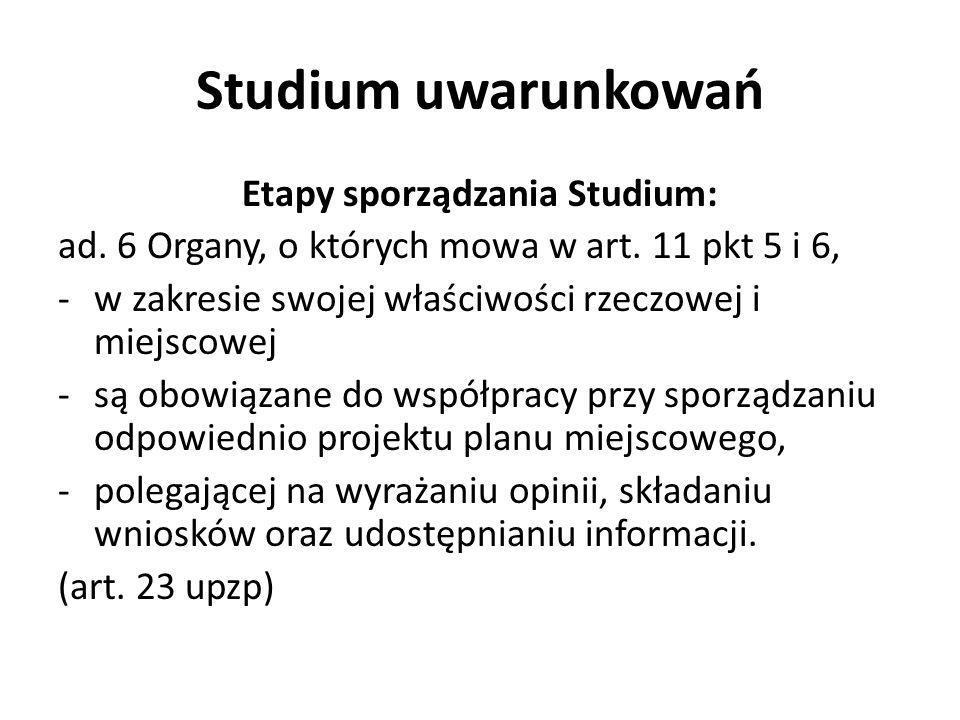 Studium uwarunkowań Etapy sporządzania Studium: ad. 6 Organy, o których mowa w art. 11 pkt 5 i 6, -w zakresie swojej właściwości rzeczowej i miejscowe