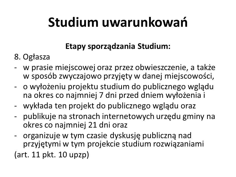 Studium uwarunkowań Etapy sporządzania Studium: 8.
