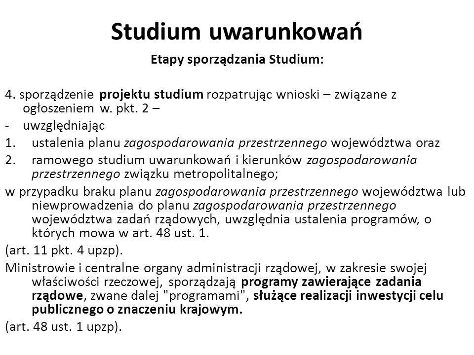 Studium uwarunkowań Etapy sporządzania Studium: 4. sporządzenie projektu studium rozpatrując wnioski – związane z ogłoszeniem w. pkt. 2 – -uwzględniaj