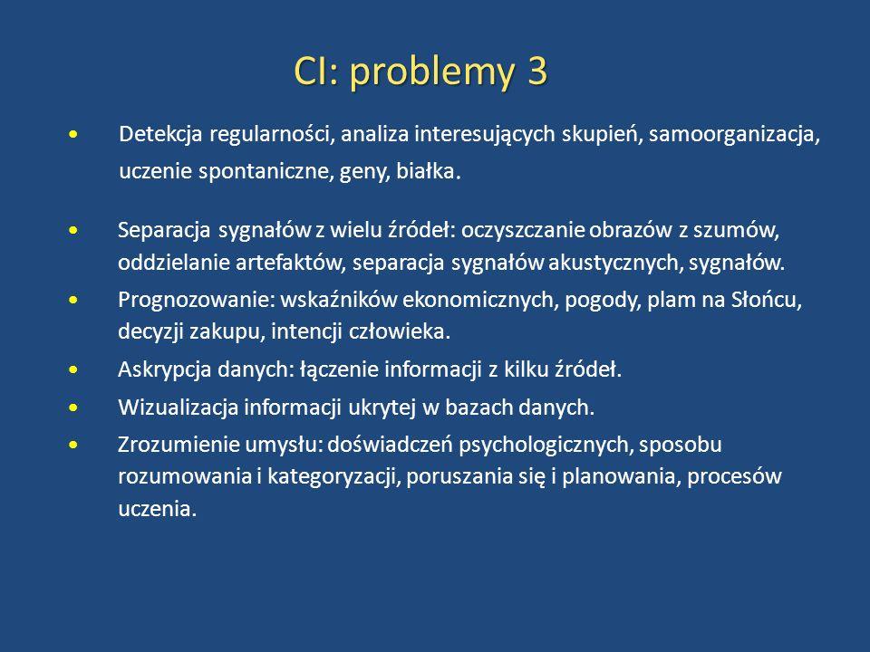 CI: problemy 3 Detekcja regularności, analiza interesujących skupień, samoorganizacja, uczenie spontaniczne, geny, białka.