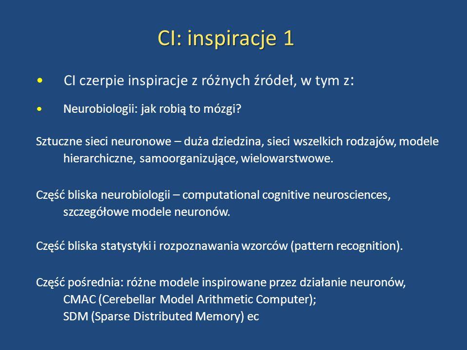 CI: inspiracje 1 CI czerpie inspiracje z różnych źródeł, w tym z : Neurobiologii: jak robią to mózgi? Sztuczne sieci neuronowe – duża dziedzina, sieci