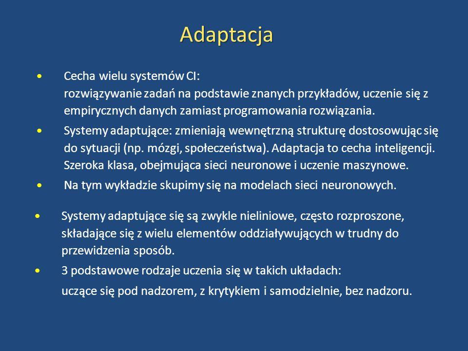 Adaptacja Cecha wielu systemów CI: rozwiązywanie zadań na podstawie znanych przykładów, uczenie się z empirycznych danych zamiast programowania rozwią