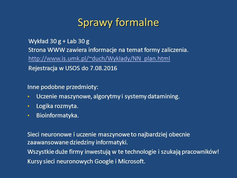 Sprawy formalne Wykład 30 g + Lab 30 g Strona WWW zawiera informacje na temat formy zaliczenia. http://www.is.umk.pl/~duch/Wyklady/NN_plan.html Rejest