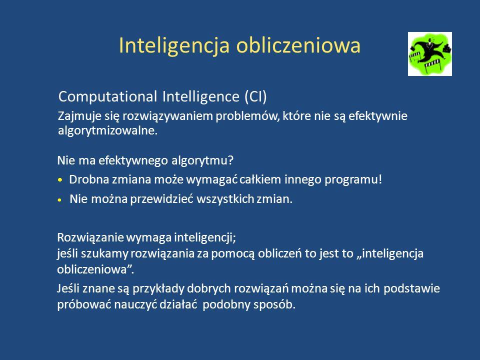 Inteligencja obliczeniowa Computational Intelligence (CI) Zajmuje się rozwiązywaniem problemów, które nie są efektywnie algorytmizowalne.