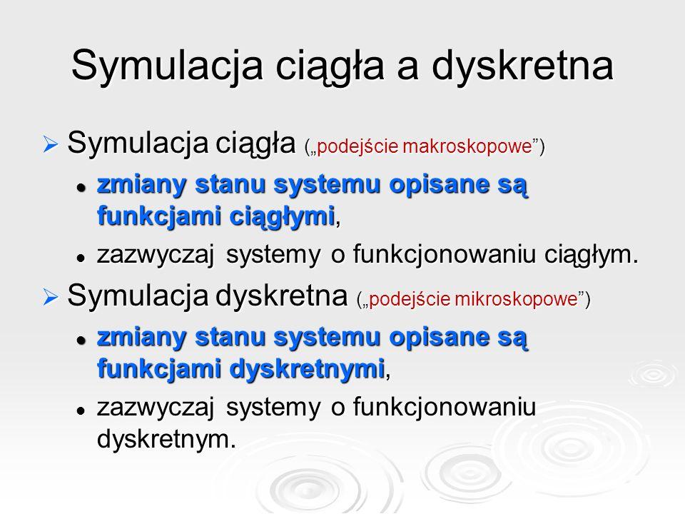 """Symulacja ciągła a dyskretna  Symulacja ciągła (""""podejście makroskopowe ) zmiany stanu systemu opisane są funkcjami ciągłymi, zmiany stanu systemu opisane są funkcjami ciągłymi, zazwyczaj systemy o funkcjonowaniu ciągłym."""