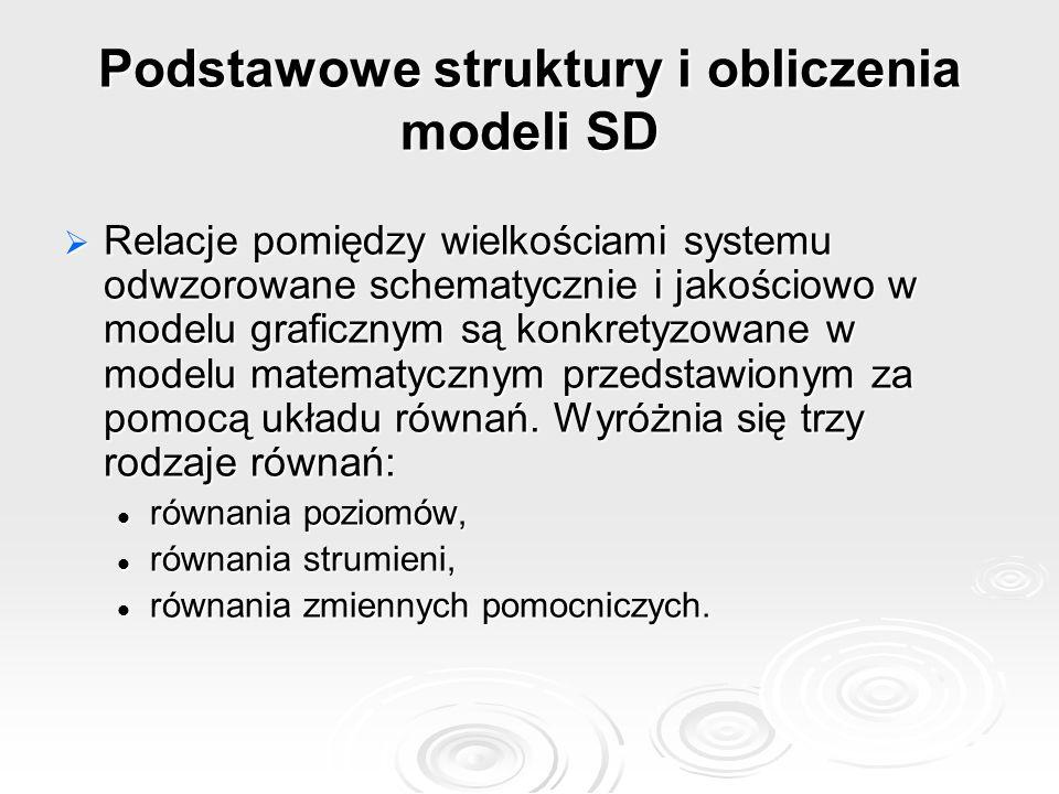 Podstawowe struktury i obliczenia modeli SD  Relacje pomiędzy wielkościami systemu odwzorowane schematycznie i jakościowo w modelu graficznym są konkretyzowane w modelu matematycznym przedstawionym za pomocą układu równań.