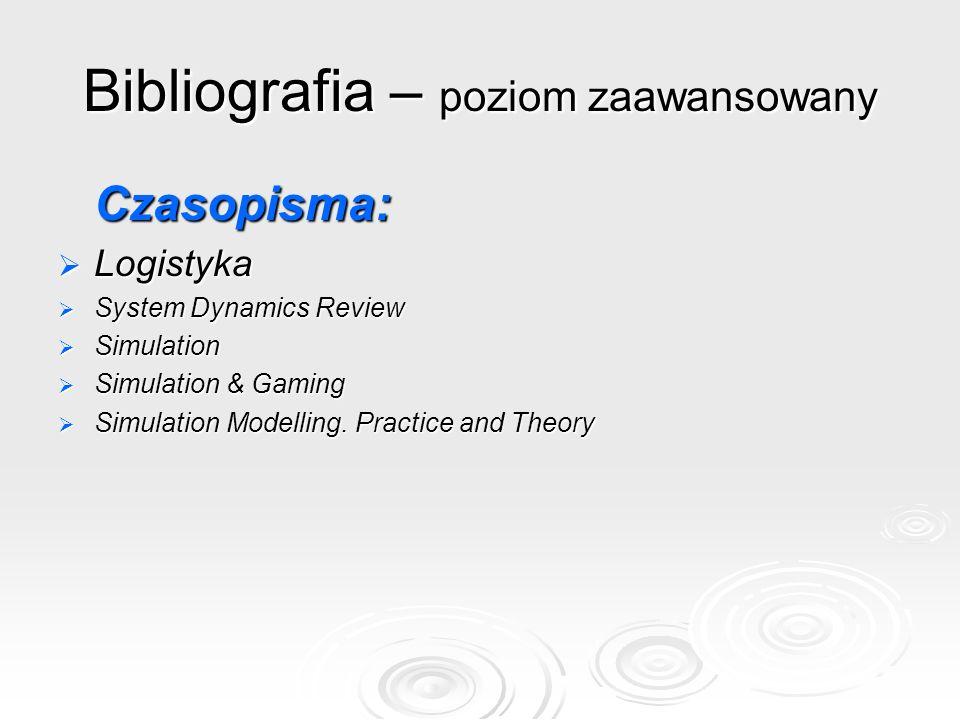 Bibliografia – poziom zaawansowany Czasopisma:  Logistyka  System Dynamics Review  Simulation  Simulation & Gaming  Simulation Modelling. Practic