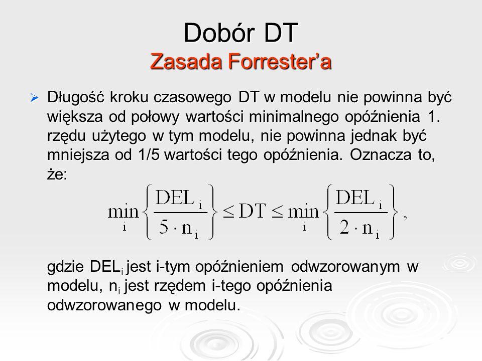 Dobór DT Zasada Forrester'a  Długość kroku czasowego DT w modelu nie powinna być większa od połowy wartości minimalnego opóźnienia 1. rzędu użytego w