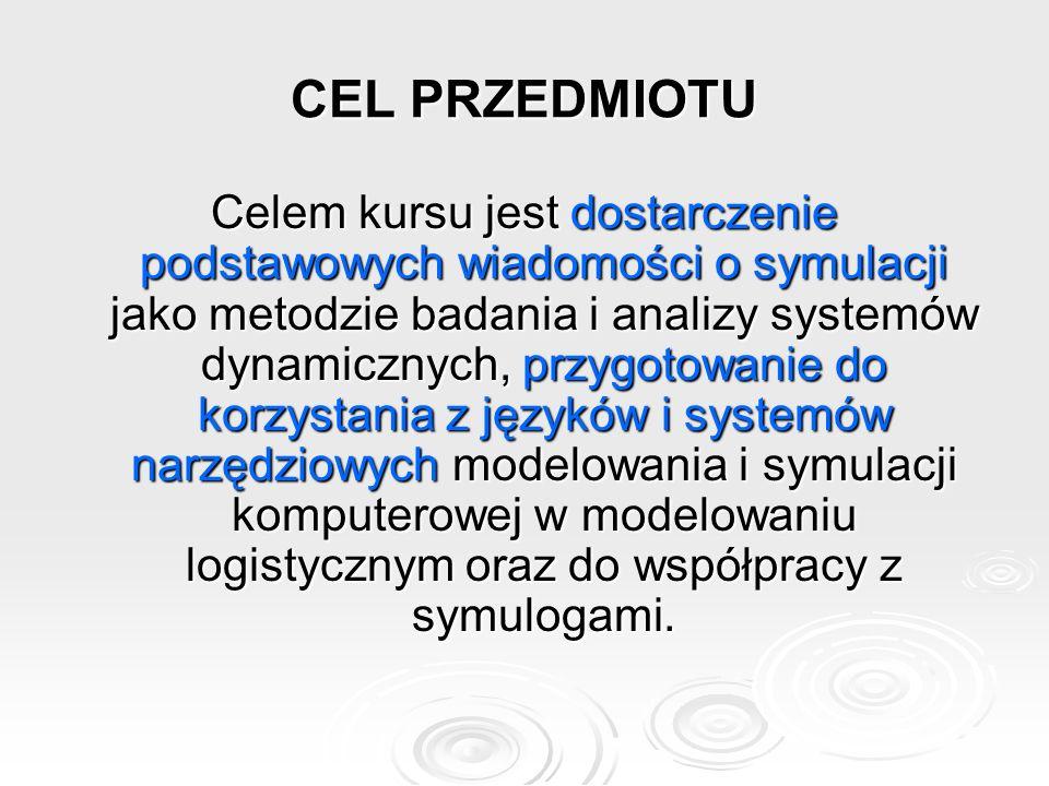 CEL PRZEDMIOTU Celem kursu jest dostarczenie podstawowych wiadomości o symulacji jako metodzie badania i analizy systemów dynamicznych, przygotowanie do korzystania z języków i systemów narzędziowych modelowania i symulacji komputerowej w modelowaniu logistycznym oraz do współpracy z symulogami.