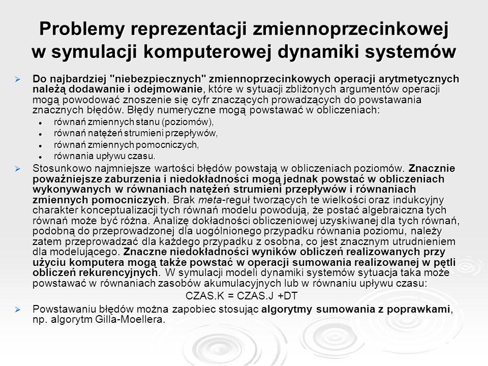 Problemy reprezentacji zmiennoprzecinkowej w symulacji komputerowej dynamiki systemów  Do najbardziej
