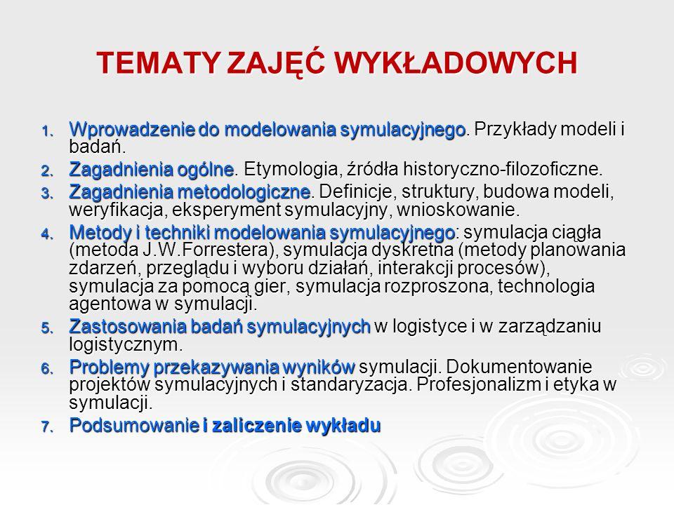 TEMATY ZAJĘĆ WYKŁADOWYCH 1. Wprowadzenie do modelowania symulacyjnego. Przykłady modeli i badań. 2. Zagadnienia ogólne. Etymologia, źródła historyczno