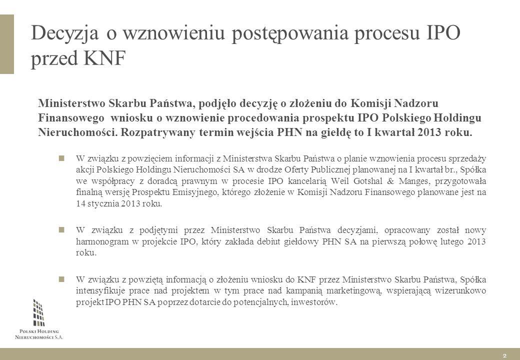 Decyzja o wznowieniu postępowania procesu IPO przed KNF Ministerstwo Skarbu Państwa, podjęło decyzję o złożeniu do Komisji Nadzoru Finansowego wniosku o wznowienie procedowania prospektu IPO Polskiego Holdingu Nieruchomości.