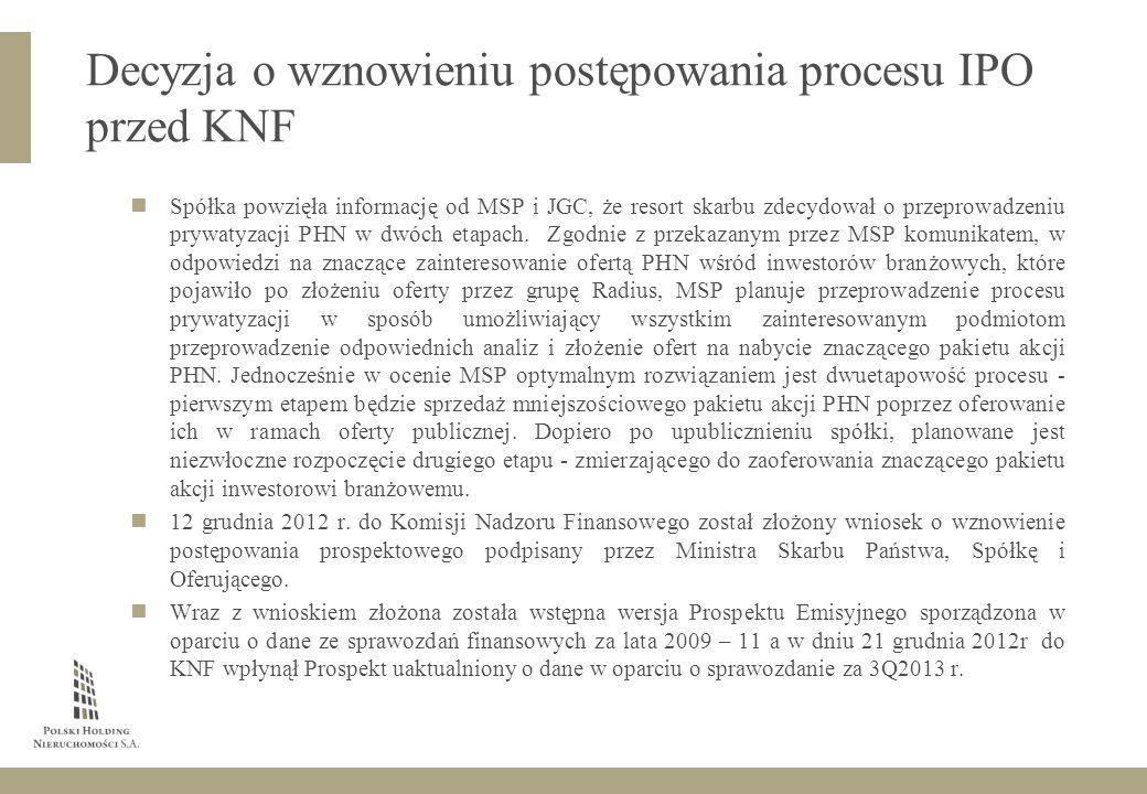 Spółka powzięła informację od MSP i JGC, że resort skarbu zdecydował o przeprowadzeniu prywatyzacji PHN w dwóch etapach.