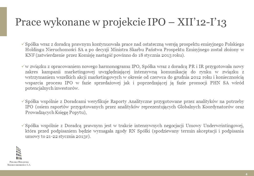 Prace wykonane w projekcie IPO – XII'12-I'13 Spółka wraz z doradcą prawnym kontynuowała prace nad ostateczną wersją prospektu emisyjnego Polskiego Holdingu Nieruchomości SA a po decyzji Ministra Skarbu Państwa Prospektu Emisyjnego został złożony w KNF (zatwierdzenie przez Komisję nastąpić powinno do 18 stycznia 2013 roku).