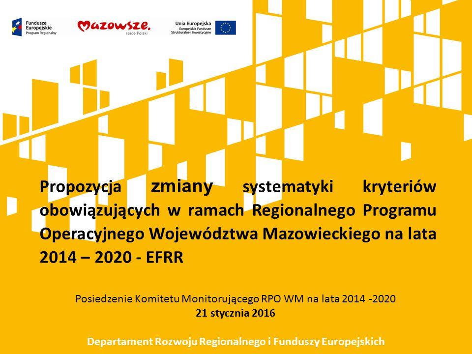 Systematyka kryteriów obowiązujących w ramach Regionalnego Programu Operacyjnego Województwa Mazowieckiego na lata 2014 – 2020, dla projektów współfinansowanych ze środków EFRR