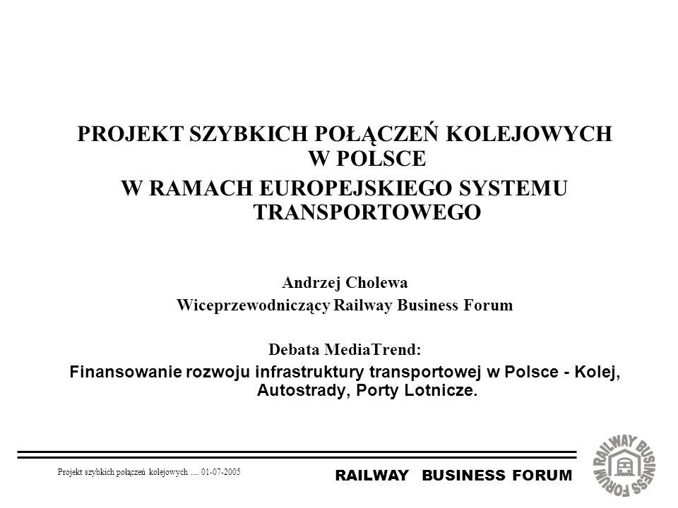 RAILWAY BUSINESS FORUM Projekt szybkich połączeń kolejowych.... 01-07-2005 PROJEKT SZYBKICH POŁĄCZEŃ KOLEJOWYCH W POLSCE W RAMACH EUROPEJSKIEGO SYSTEM