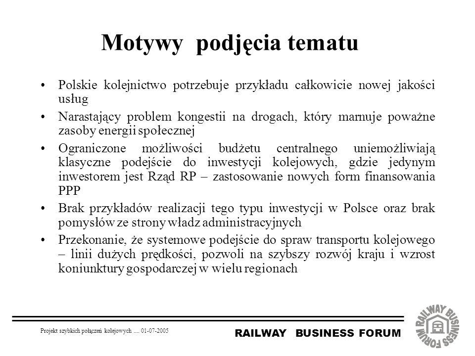 RAILWAY BUSINESS FORUM Projekt szybkich połączeń kolejowych.... 01-07-2005 Motywy podjęcia tematu Polskie kolejnictwo potrzebuje przykładu całkowicie