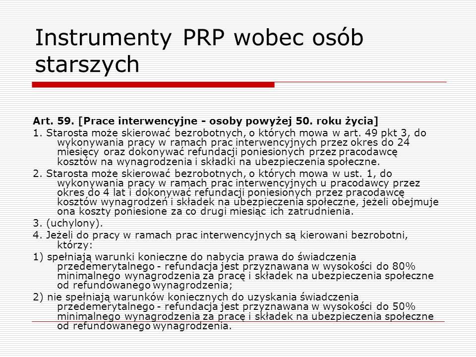 Instrumenty PRP wobec osób starszych Art.59. [Prace interwencyjne - osoby powyżej 50.