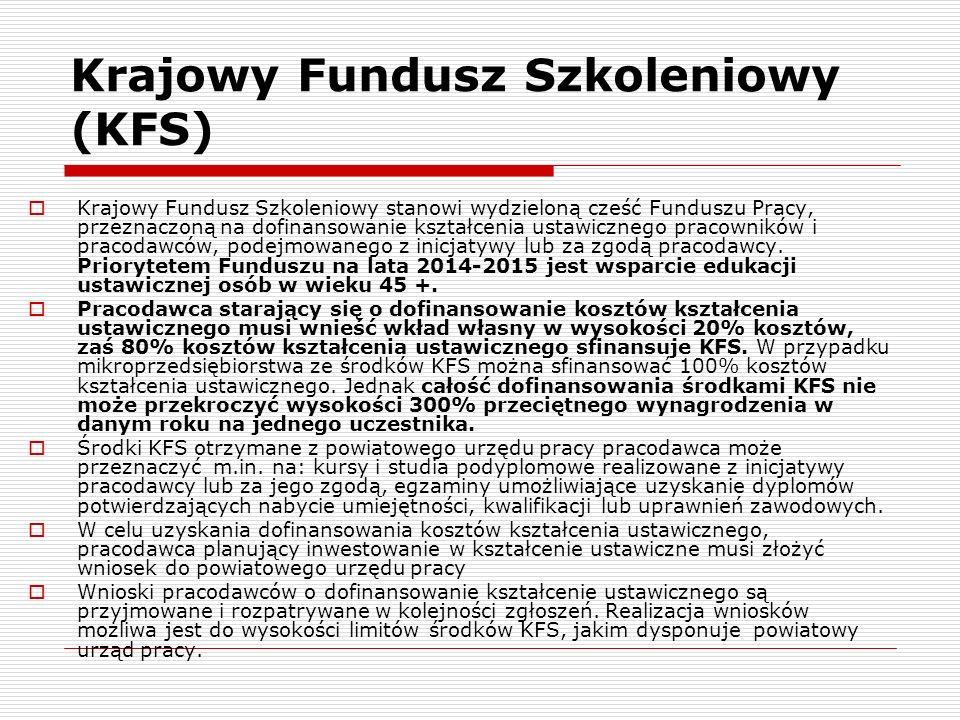 Krajowy Fundusz Szkoleniowy (KFS)  Krajowy Fundusz Szkoleniowy stanowi wydzieloną cześć Funduszu Pracy, przeznaczoną na dofinansowanie kształcenia ustawicznego pracowników i pracodawców, podejmowanego z inicjatywy lub za zgodą pracodawcy.