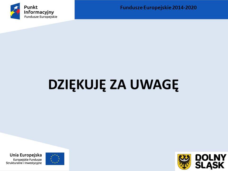 DZIĘKUJĘ ZA UWAGĘ Fundusze Europejskie 2014-2020