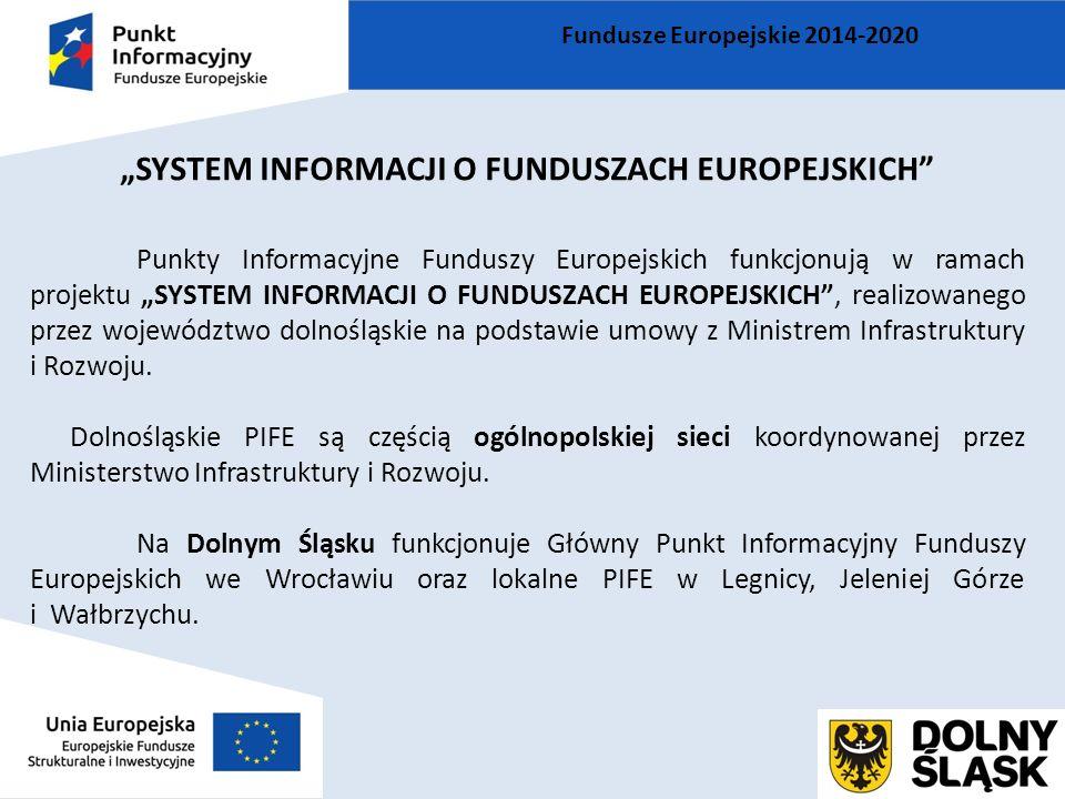 """""""SYSTEM INFORMACJI O FUNDUSZACH EUROPEJSKICH Punkty Informacyjne Funduszy Europejskich funkcjonują w ramach projektu """"SYSTEM INFORMACJI O FUNDUSZACH EUROPEJSKICH , realizowanego przez województwo dolnośląskie na podstawie umowy z Ministrem Infrastruktury i Rozwoju."""