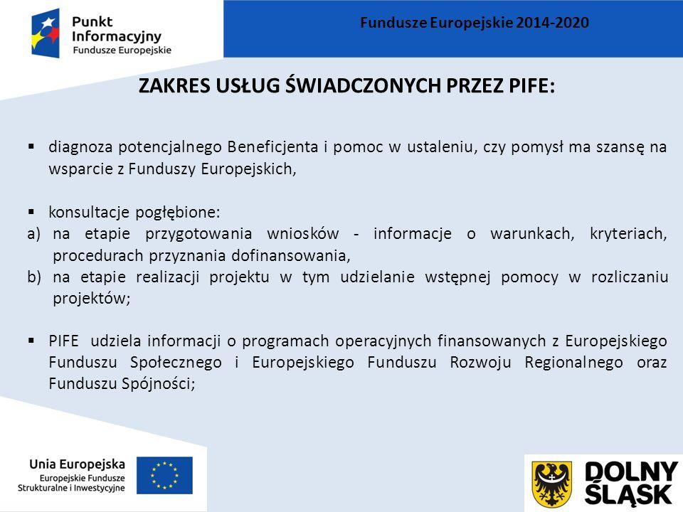 ZAKRES USŁUG ŚWIADCZONYCH PRZEZ PIFE:  diagnoza potencjalnego Beneficjenta i pomoc w ustaleniu, czy pomysł ma szansę na wsparcie z Funduszy Europejskich,  konsultacje pogłębione: a)na etapie przygotowania wniosków - informacje o warunkach, kryteriach, procedurach przyznania dofinansowania, b)na etapie realizacji projektu w tym udzielanie wstępnej pomocy w rozliczaniu projektów;  PIFE udziela informacji o programach operacyjnych finansowanych z Europejskiego Funduszu Społecznego i Europejskiego Funduszu Rozwoju Regionalnego oraz Funduszu Spójności; Fundusze Europejskie 2014-2020