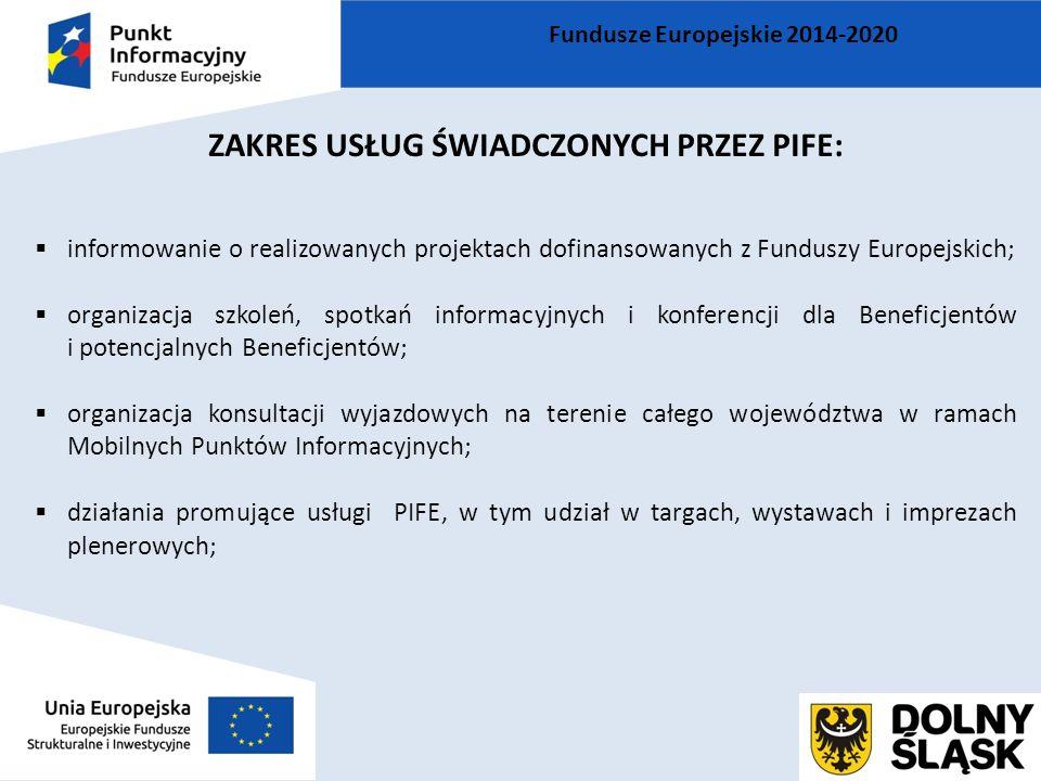 ZAKRES USŁUG ŚWIADCZONYCH PRZEZ PIFE:  informowanie o realizowanych projektach dofinansowanych z Funduszy Europejskich;  organizacja szkoleń, spotka