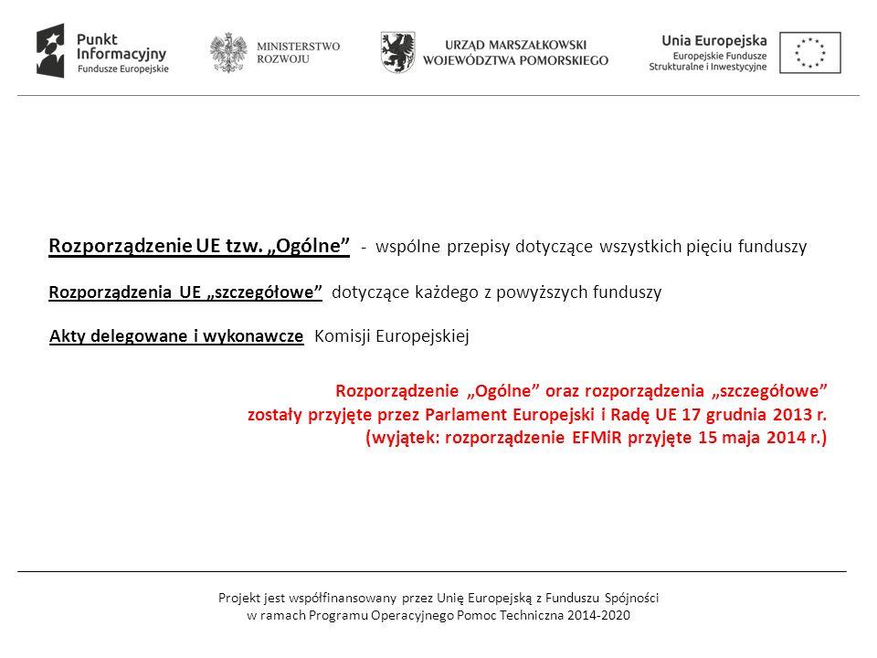 Projekt jest współfinansowany przez Unię Europejską z Funduszu Spójności w ramach Programu Operacyjnego Pomoc Techniczna 2014-2020 Rozporządzenie UE t