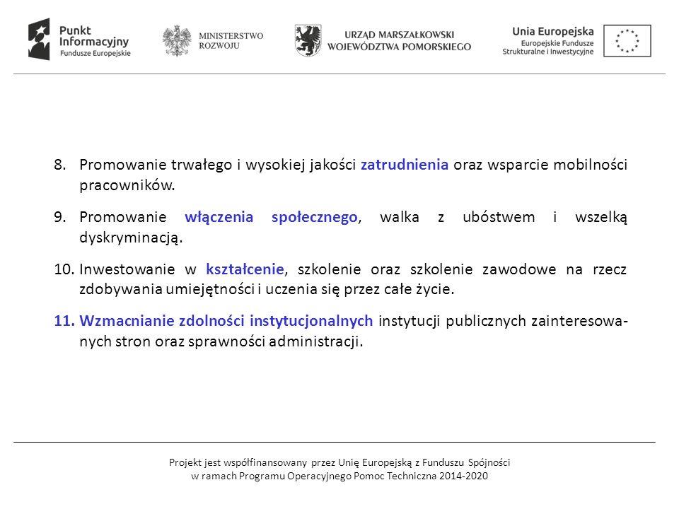 Projekt jest współfinansowany przez Unię Europejską z Funduszu Spójności w ramach Programu Operacyjnego Pomoc Techniczna 2014-2020 8.Promowanie trwałe