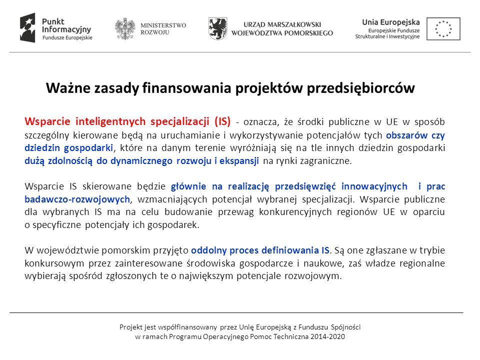 Projekt jest współfinansowany przez Unię Europejską z Funduszu Spójności w ramach Programu Operacyjnego Pomoc Techniczna 2014-2020 Wsparcie inteligent
