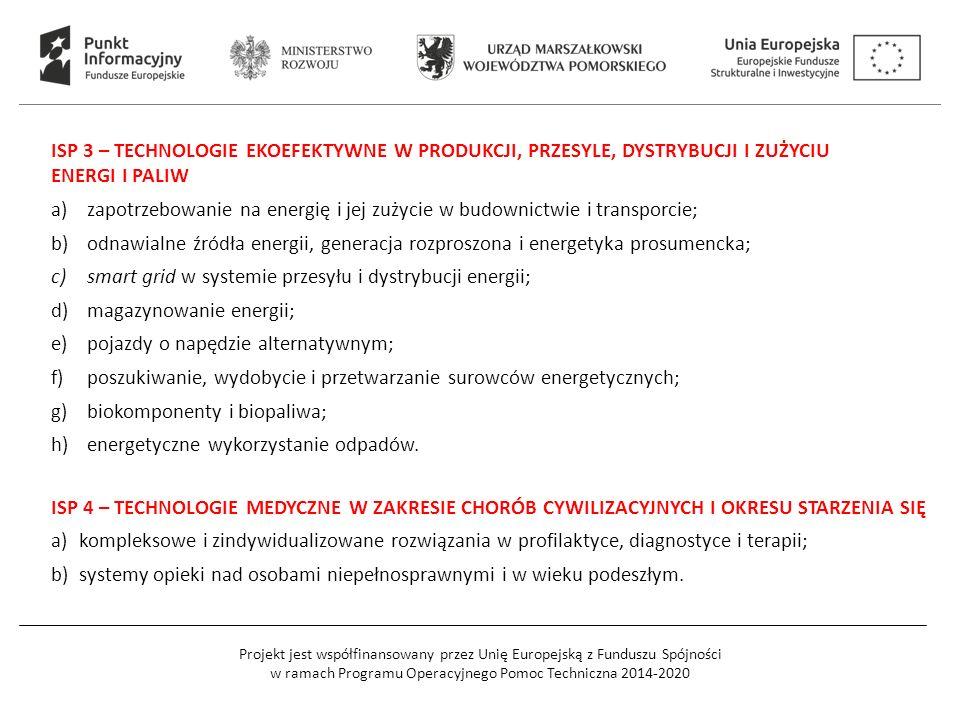 Projekt jest współfinansowany przez Unię Europejską z Funduszu Spójności w ramach Programu Operacyjnego Pomoc Techniczna 2014-2020 ISP 3 – TECHNOLOGIE