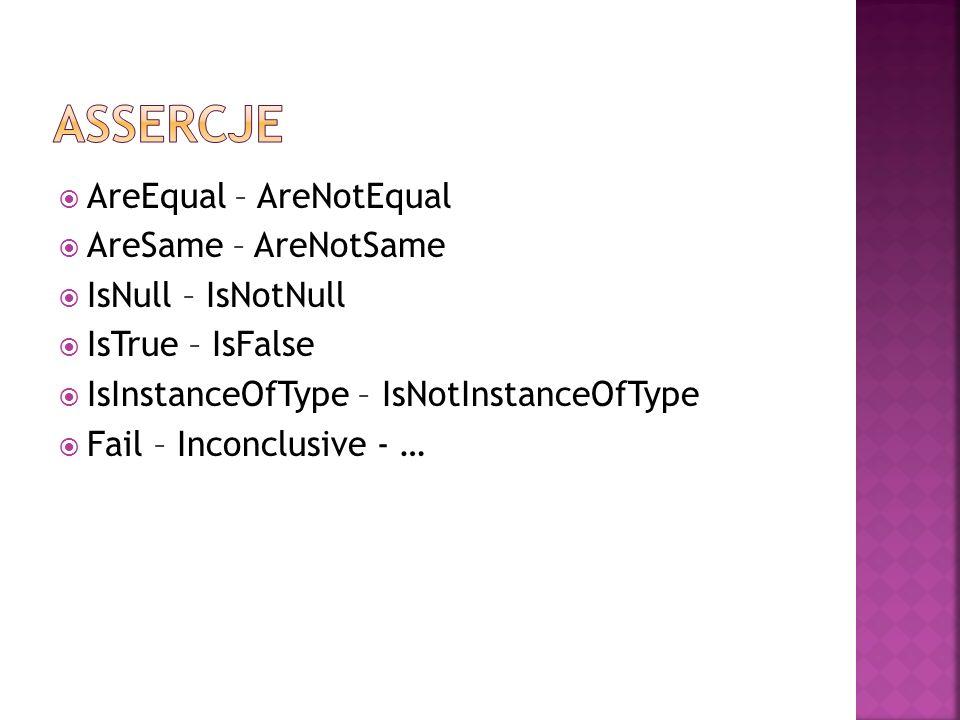  AreEqual – AreNotEqual  AreSame – AreNotSame  IsNull – IsNotNull  IsTrue – IsFalse  IsInstanceOfType – IsNotInstanceOfType  Fail – Inconclusive - …