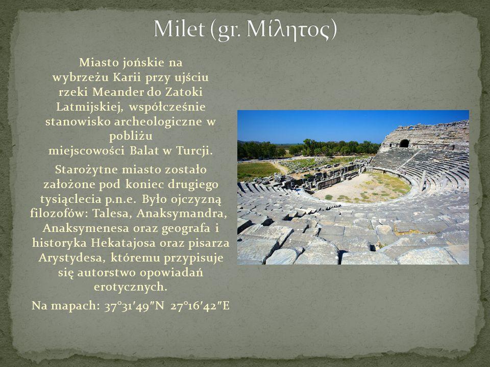 Miasto jońskie na wybrzeżu Karii przy ujściu rzeki Meander do Zatoki Latmijskiej, współcześnie stanowisko archeologiczne w pobliżu miejscowości Balat
