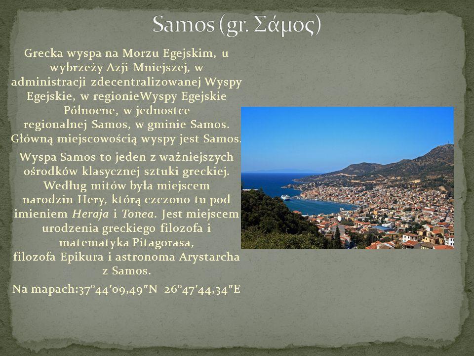 Grecka wyspa na Morzu Egejskim, u wybrzeży Azji Mniejszej, w administracji zdecentralizowanej Wyspy Egejskie, w regionieWyspy Egejskie Północne, w jed
