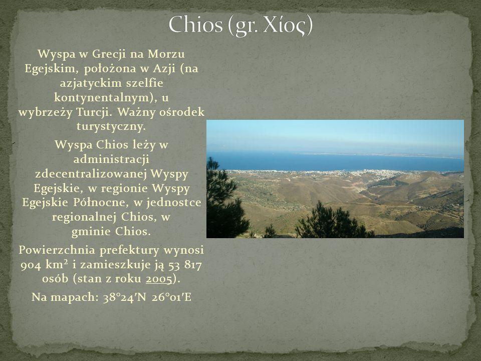 Wyspa w Grecji na Morzu Egejskim, położona w Azji (na azjatyckim szelfie kontynentalnym), u wybrzeży Turcji. Ważny ośrodek turystyczny. Wyspa Chios le