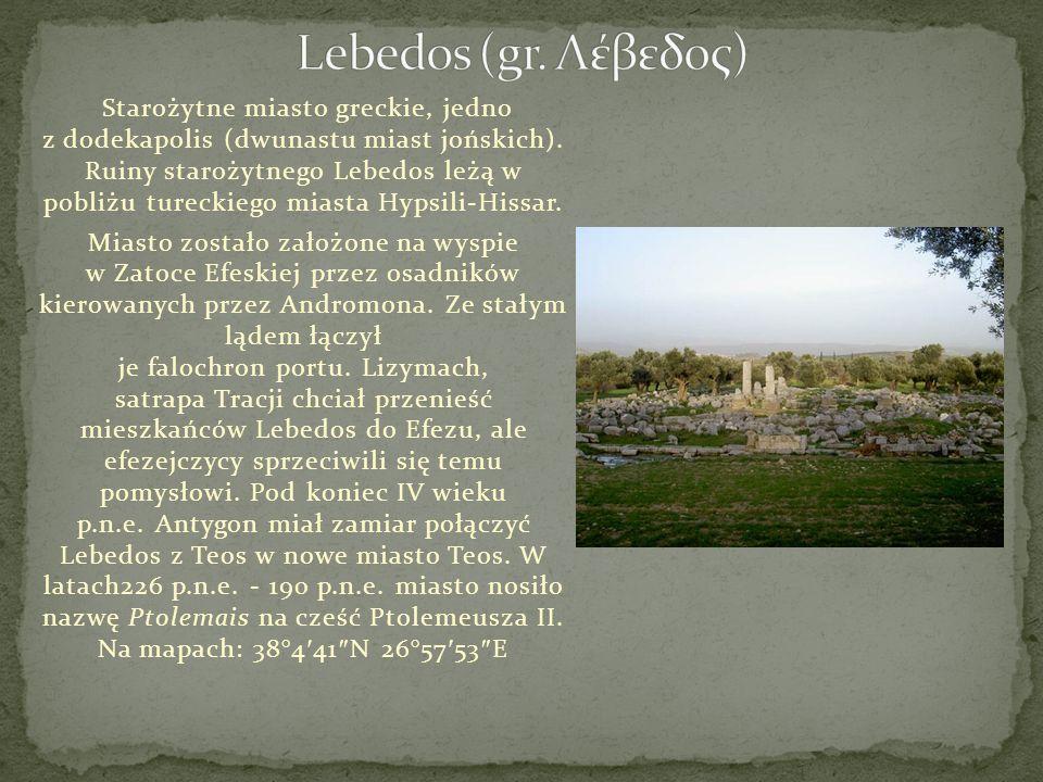 Starożytne miasto greckie, jedno z dodekapolis (dwunastu miast jońskich). Ruiny starożytnego Lebedos leżą w pobliżu tureckiego miasta Hypsili-Hissar.