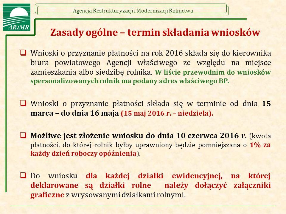 Agencja Restrukturyzacji i Modernizacji Rolnictwa Zasady ogólne – termin składania wniosków  Wnioski o przyznanie płatności na rok 2016 składa się do