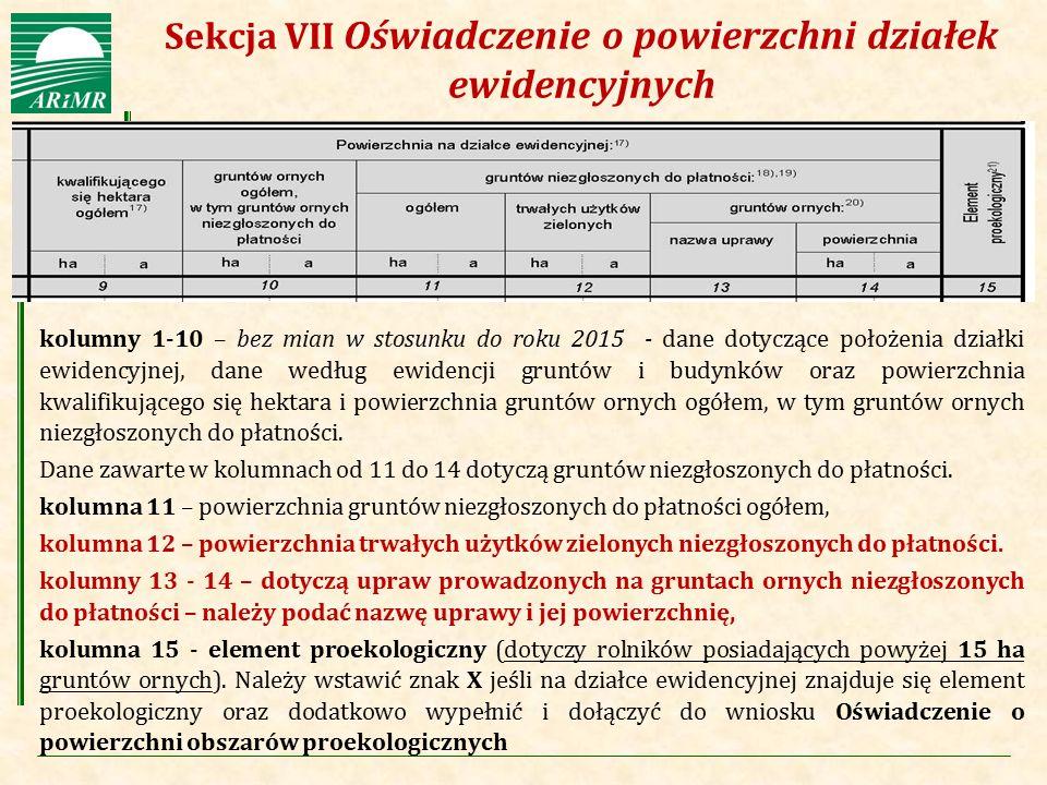Agencja Restrukturyzacji i Modernizacji Rolnictwa kolumny 1-10 – bez mian w stosunku do roku 2015 - dane dotyczące położenia działki ewidencyjnej, dan