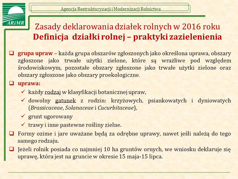 Agencja Restrukturyzacji i Modernizacji Rolnictwa Zasady deklarowania działek rolnych w 2016 roku Definicja działki rolnej – praktyki zazielenienia 