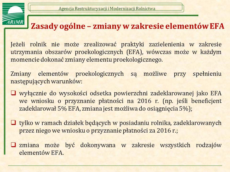 Agencja Restrukturyzacji i Modernizacji Rolnictwa Zasady ogólne – zmiany w zakresie elementów EFA Jeżeli rolnik nie może zrealizować praktyki zazielen