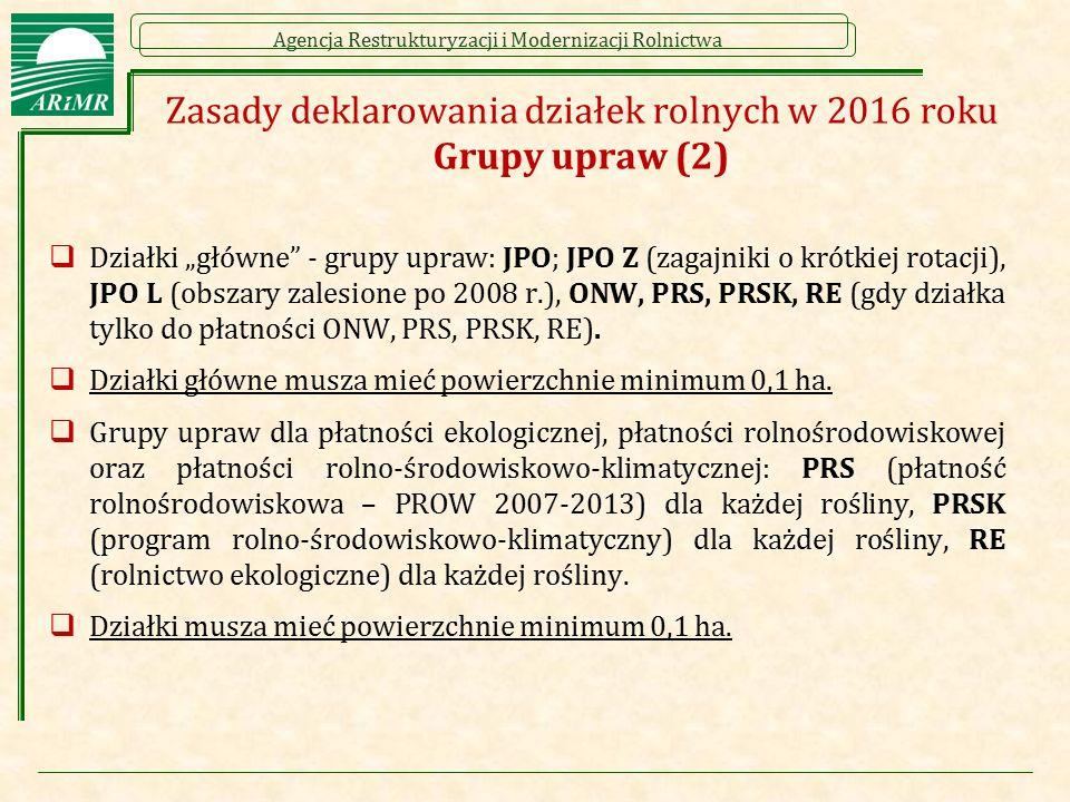 """Agencja Restrukturyzacji i Modernizacji Rolnictwa Zasady deklarowania działek rolnych w 2016 roku Grupy upraw (2)  Działki """"główne"""" - grupy upraw: JP"""