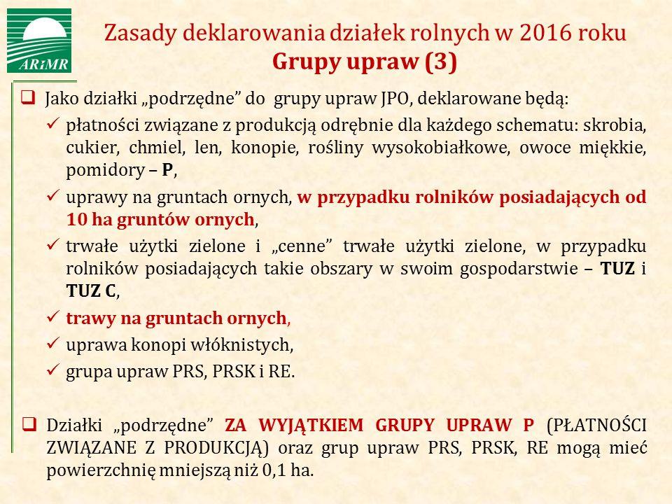 """Agencja Restrukturyzacji i Modernizacji Rolnictwa Zasady deklarowania działek rolnych w 2016 roku Grupy upraw (3)  Jako działki """"podrzędne"""" do grupy"""